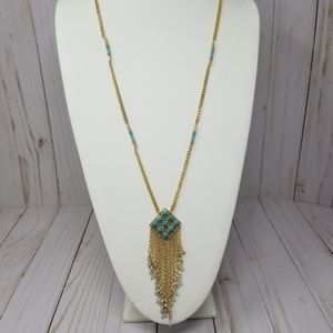 Turquoise and Gold Pendant Statement Necklace